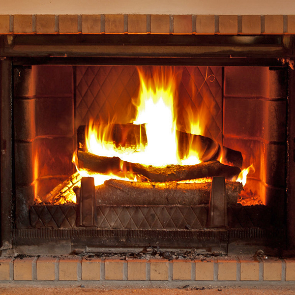 Open masonry fireplace in Fulton, MD