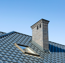 Metal Roofing with skylight and chimney